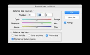 balance des couleurs logiciel retouche photo