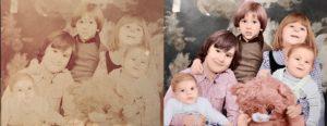 Restauration d'une photo avec 5 enfants