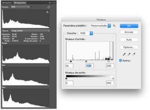 histogramme niveaux photoshop