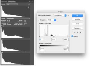 histogramme niveaux photoshop sous expose