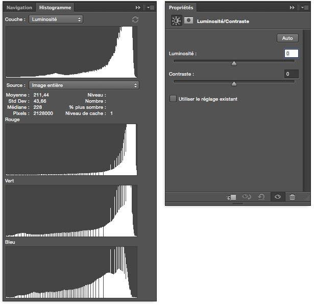 reglage avant modification luminosité contraste Photoshop