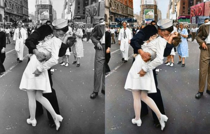 Top 25 photos anciennes historiques colorisées Marin embrasant une femme fin de la guerre