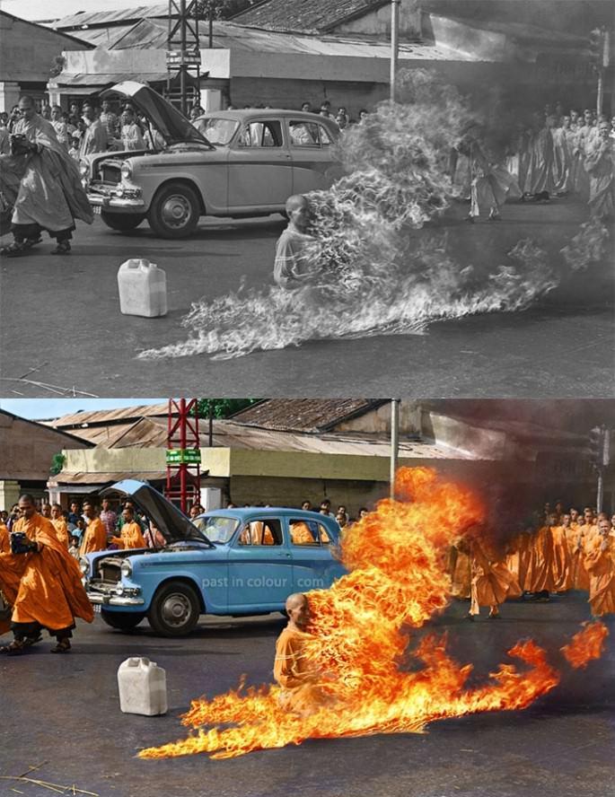 Top 25 photos anciennes historiques colorisées Thich Quang Duc s'immolant par le feu