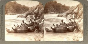 6-photos-anciennes-peau-boeuf-gonfle-riviere-himalaya