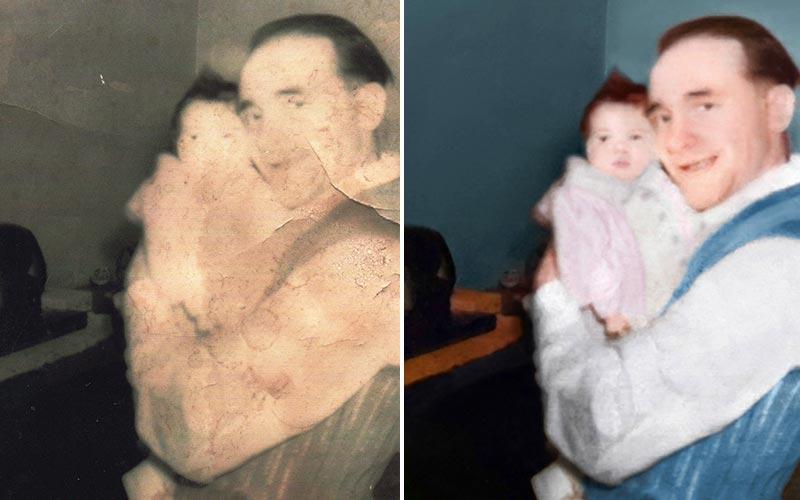 Restauration de photo avec reconstitution de visage